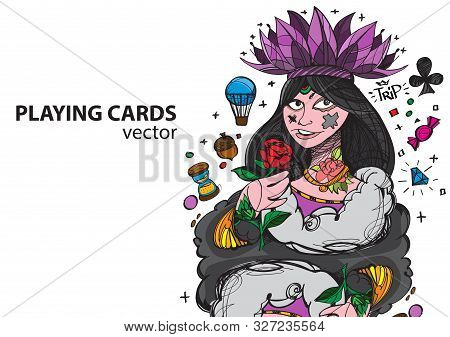 Queen Of Clubs Playing Card Suit. Vector Illustration.