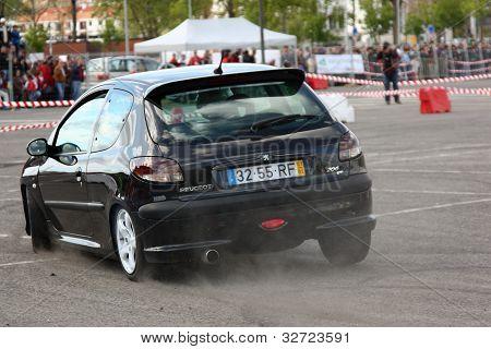 Leiria, Portugal - April 22: Unknown Driver Drives A Peugeot 206 Gti During Leiria City Slalom 2012,