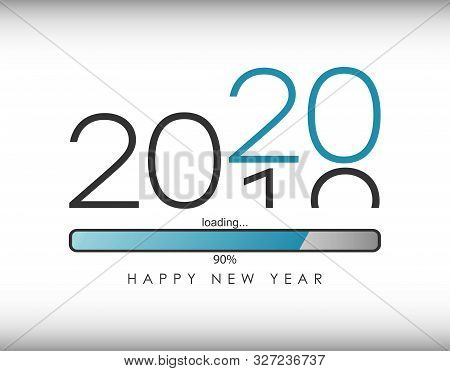2020 New Year Illustration With Loading Bar And Percent Load. Waiting For Loading Of New Year And Me