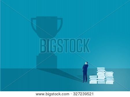 The Vision. Businessman Watches His Shadow And Contemplating About Success. Illustration
