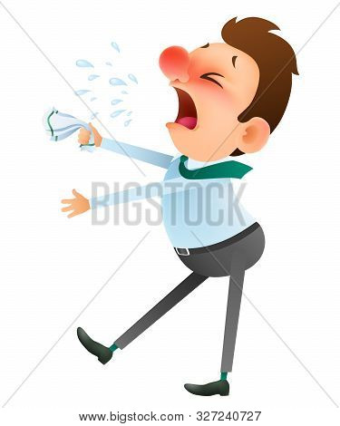 Funny Cartoon Man Is Sick And Sneezes On White Background