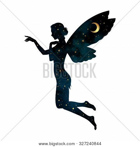 Beautiful Girl Fairy Silhouette With Crescent Moon And Stars In Profile Isolated. Boho Chic Tattoo,