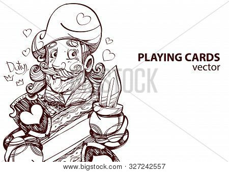 Jack Of Hearts Playing Card Suit. Outline Drawing.