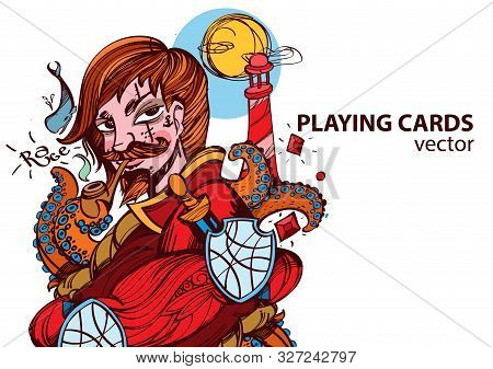 Jack Of Diamonds Playing Card Suit. Vector Illustration.