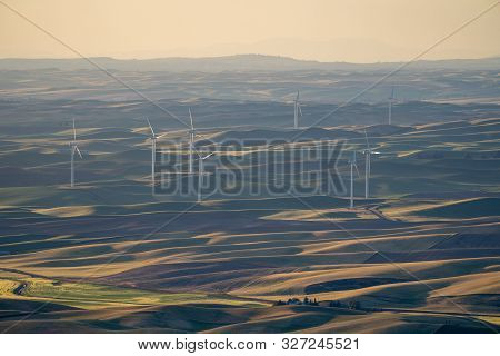 Wind Turbines Or Windmills In The Rolling Farm Fields Of The Palouse In Washington State