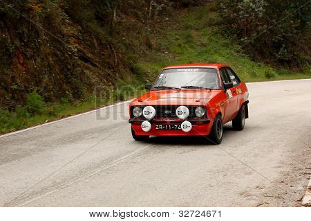 Leiria, Portugal - April 20: Goncalo Figueiroa Drives A Ford Escort Mkii During Day One Of Rally Ver