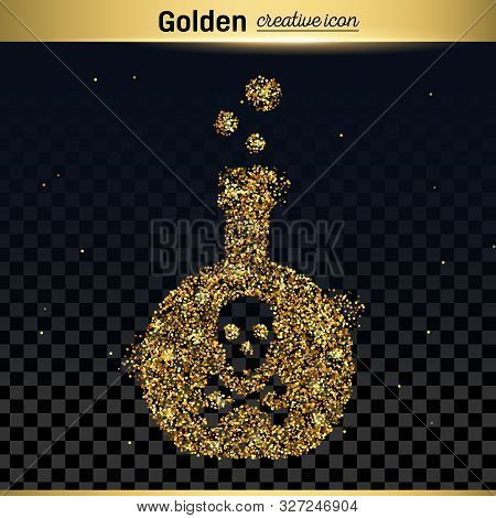 poster of Gold glitter vector icon of toxin isolated on background. Art creative concept illustration for web, glow light confetti, bright sequins, sparkle tinsel, abstract bling, shimmer dust, foil.