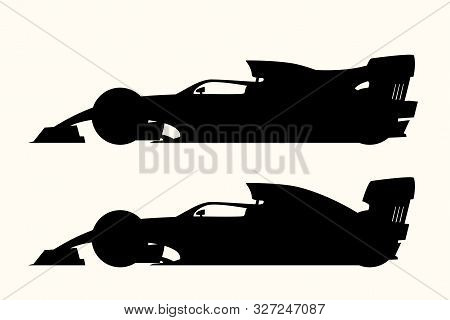 Illustration Of Silhouettes Set Formula One Isolated On White Background