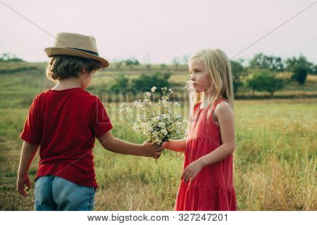 The Concept Of Child Friendship And Kindness. Sweet Angel Children. Child Care. Romantic And Love. H