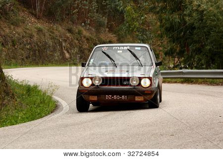 Leiria, Portugal - April 20: Antonio Magalhaes Drives A Vw Golf Gti During Day One Of Rally Verde Pi