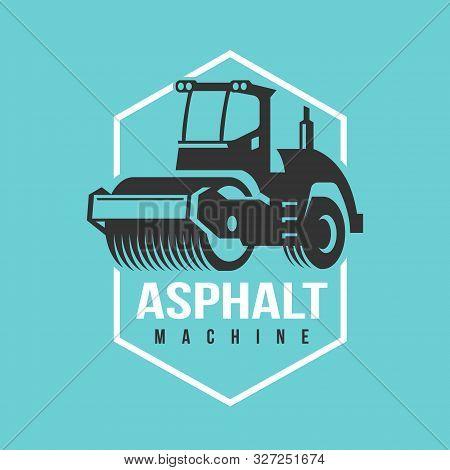 Asphalt Paving Roller Machine Vector Logo Illustration