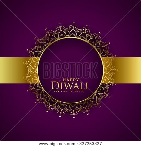 Creative Happy Diwali Purple Golden Background Design