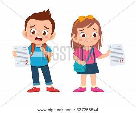 Sad Kids Have Bad Mark From Exam
