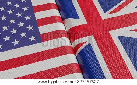 Usa And Great Britain Flags. 3D Rendered Illustration.