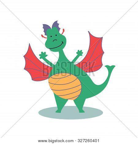 Fairy-tale Character Cheerful Dragon. Fairy Tales. Editable Vector