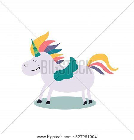 Fairy-tale Character Rainbow Unicorn With Wings. Fairy Tales. Editable Vector