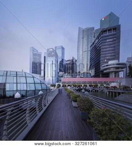 Singapore, Republic Of Singapore- July 19, 2019: Sunrise From The Cityscape In Singapore City. Singa