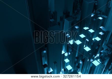 technical scene made up of repetitive columns, 3d rendering poster