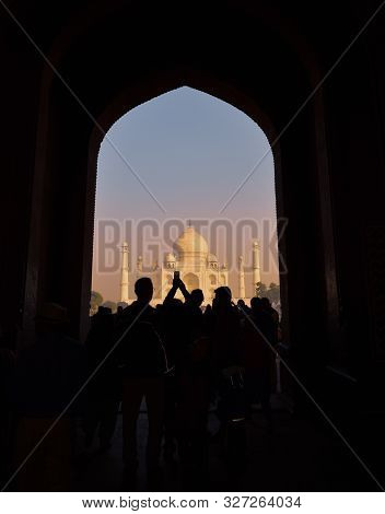 Agra / India - 5th October 2019: Abstract Background Of Taj Mahal, Silhouette Of Tourists Taking Pho