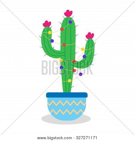 Christmas Cactus With Garlands In A Pot. Green Cactus With Thorns And Flowers