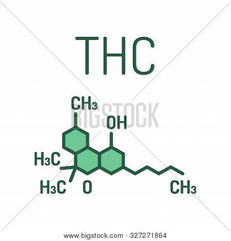 Thc Cannabis Drug Molecule Color Line Icon. Tetrahydrocannabinol. Skeletal Formula. Pictogram For We