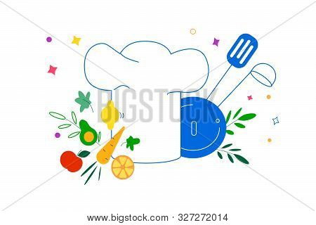 Banner On The Theme Of Cooking And Cookery. Fruits And Vegetables On A Background Of A Cook Hat And