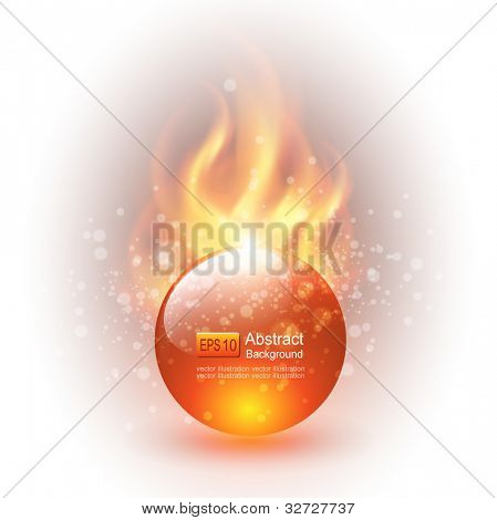 3D sphere with fire flames as vector background.
