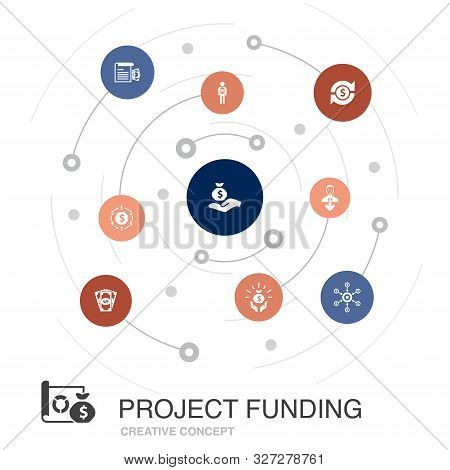 Project Funding Colored Circle Concept With Simple Icons. Contains Such Elements As Crowdfunding, Gr