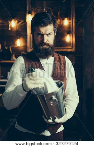 Bearded Hipster Wear Waistcoat.brutal Bearded Servant. Hipster Barman In Waistcoat And Gloves. Barma