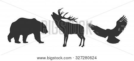 Vector Deer, Bear, Eagle Silhouettes Isolated On White Background.