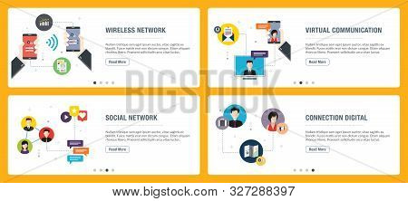 Vector Set Of Vertical Web Banners With Wireless Network, Virtual Communication, Social Network, Con