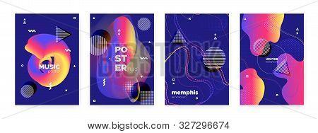 poster of Flow Memphis Gradient. Modern Hipster Cover. Blue Wave Poster. Graphic Bauhaus Elements. Fluid Memphis Brochure. Futuristic Abstract Banner. Bright Music Poster. Flow Memphis Brochure.