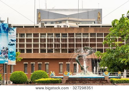 Chon Buri, Thailand - March 16, 2019: Marine Science Brown Building Front At Burapha University On L