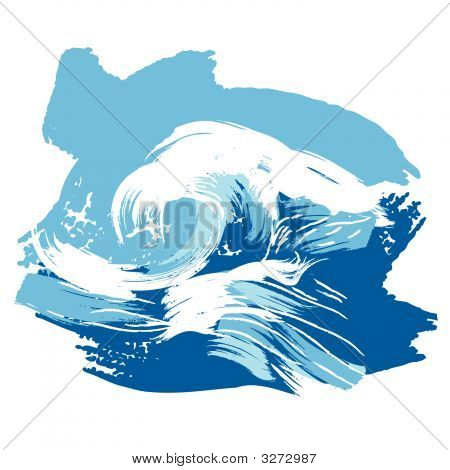 Stylized Brushed Ocean Waves Splash