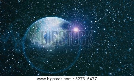 Blue Dark Night Sky With Many Stars. Milky Way On The Space Background . Milky Way Galaxy With Stars