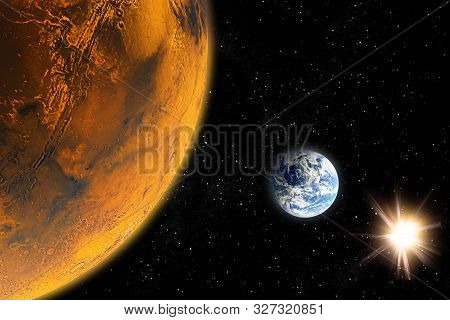 Earth, Mars, Sun. 2018 On July 27, Mars Will Enter A Great Confrontation With The Earth. Space, Gala