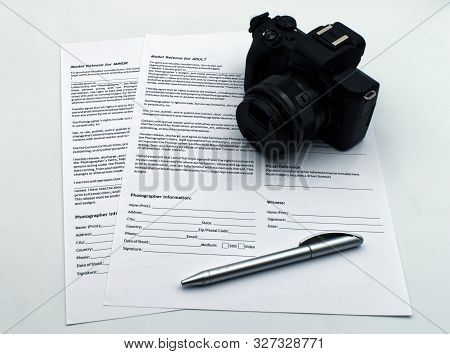 Bologna / Italy - October 12, 2019: Model Release For Adult And For Minor Documents, Isolated On Whi