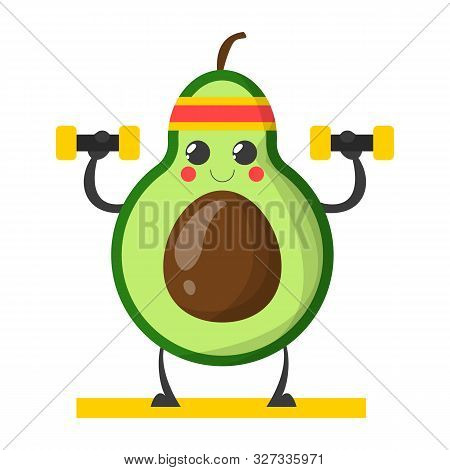Avocado Character Training With Dumbbell Vector Isolated