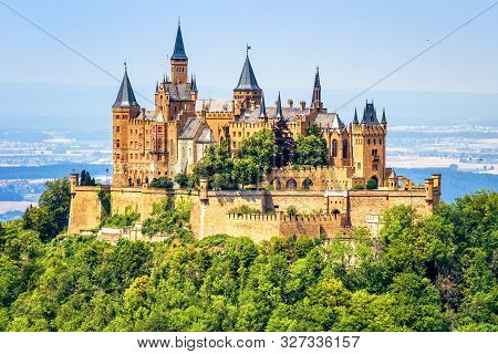 Hohenzollern Castle Close-up, Germany. This Fairytale Castle Is Famous Landmark Near Stuttgart. Scen