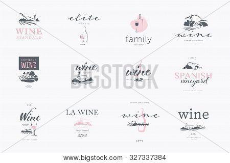 Vector Set Of Wine Label Logo Design Template With Text, Hand Drawn Landscape Village Vinery Illustr