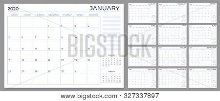Monthly Planner Template. Year Calendar Notes Grid, 2020 Planners Sheets And Yearly Scheduling Calen