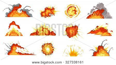Cartoon Explosions. Exploding Bomb, Fire Cloud And Explosion Burst. Mobile Game Damage Sign, Comic B