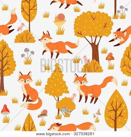Seamless Forest Foxes Pattern. Cute Red Fox Among Yellow Trees, Wild Animal Nature. Foxy Woodland Wa