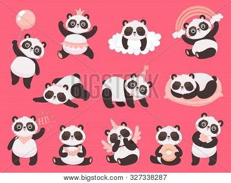Cartoon Cute Panda. Little Baby Pandas, Adorable Sleeping Animals And Pink Princess Panda Bear. Chib