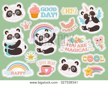 Cute Panda Stickers. Happy Pandas Patches, Cool Animals And Winked Panda Sticker. Bear Emotion Doodl