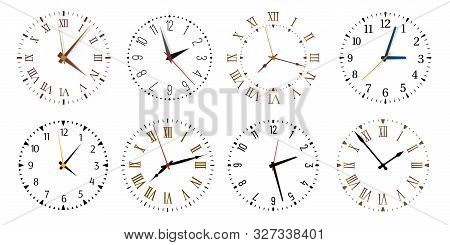 Modern Clock Faces. Minimalist Watch, Round Clocks And Watch Face. Ticking Clock Timer Measurement S