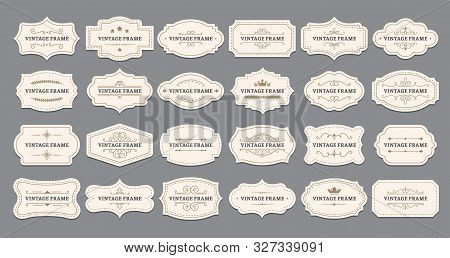 Ornamental Label Frames. Old Ornate Labels, Decorative Vintage Frame And Retro Badge. Royal Wedding