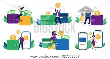 Money Transfers. People Sent Money From Wallet To Bank Card, Mobile Payments And Financial Transacti