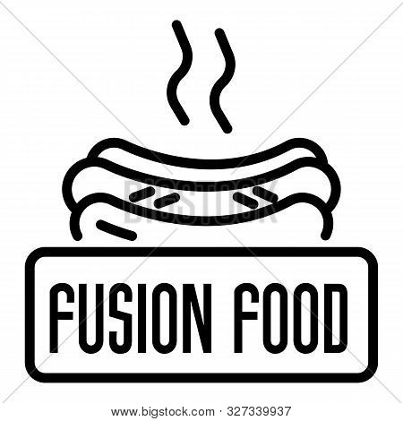 Fusion Hot Food Logo. Outline Fusion Hot Food Vector Logo For Web Design Isolated On White Backgroun