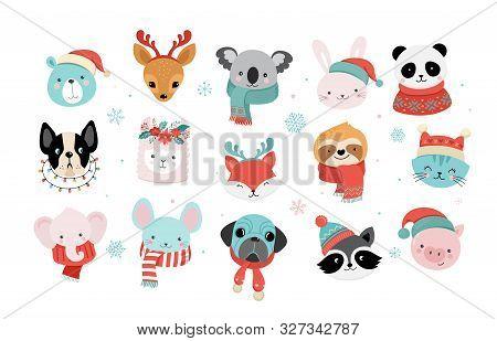 Collection Of Christmas Cute Animals, Merry Christmas Illustrations Of Panda, Fox, Llama, Sloth, Cat